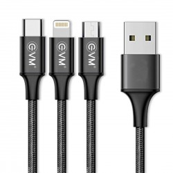 EVM USB TO 3 IN 1 CHARGE & SYNC CABLE METAL HEAD NYLON BRAIDED M3